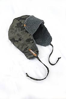 Detské čiapky - Zimná čiapka s menom - nepremokavá Army - 10183307_