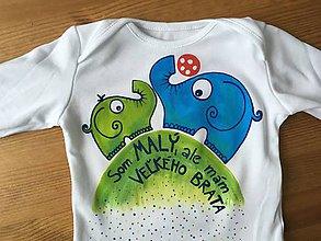 Detské oblečenie - Originálne maľované tričko/body so sloníkmi hrajúcimi sa s loptou a nápisom - 10179448_