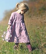 Detské oblečenie - Lněné šatičky Mauve - 10179382_