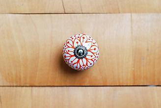Komponenty - Nábytková úchytka s oranžovým kvetom - 10178861_