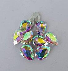 Komponenty - Sklenený kabošon crystal AB slza (13×18mm) - 10178932_