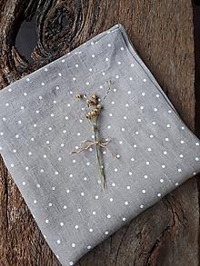 Úžitkový textil - Ľanová štóla Dots Everywhere (100x50 cm - Modrá) - 10180322_
