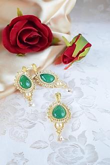 Sady šperkov - Vyšívaný set s achátom a swarovski (Zelená/Zlatá) - 10184783_