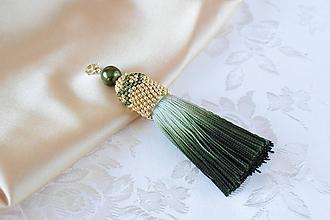 Iné šperky - Strapcový prívesok na kabelku/kľúče, Olivová/Zlatá - 10185092_