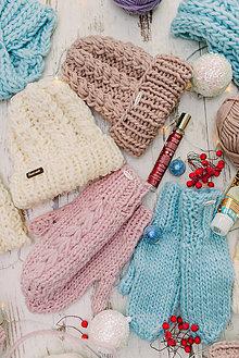 Čiapky - Luxury set-100% vlna,čiapka a rukavice - 10184524_