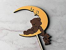 Dekorácie - Zápich na tortu mesiac s mackom - 10187256_