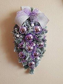 Dekorácie - dekorácia vianočná na dvere fialová
