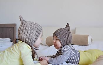 Detské čiapky - Čiapka škriatok alpaka/merino - 10187925_