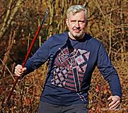 Tričká - Pánske tričko batikované, maľované, folk 3STO HRMENÝCH - 10184624_