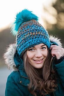 Čiapky - Tyrkysovo-hnedá vlnená čiapka - 10186637_
