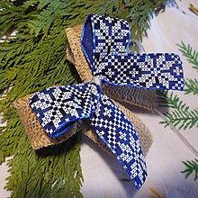 Dekorácie - Mašľa na stromček - vzorová s jutou (Modrá) - 10187335_