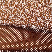 Textil - hnedo-ružové bodky/kvietky, predpraná 100 % bavlna, šírka 140 cm - 10183991_