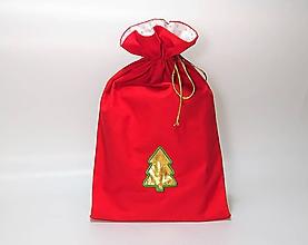 Úžitkový textil - Vianočné vrecúško so zlatým stromčekom - 10187795_