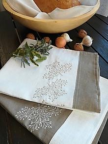 Úžitkový textil - Set dvoch ľanových utierok s výšivkou - 10187615_