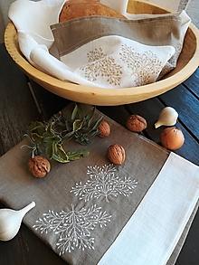 Úžitkový textil - Ľanová kuchynská utierka s výšivkou  (Hnedá) - 10187711_