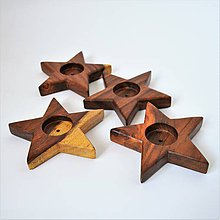 Svietidlá a sviečky - Drevené hviezdy - svietniky - 10185026_