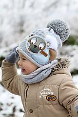 Detské čiapky - Hrejivý set s mackom - 10187687_