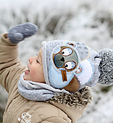 Detské čiapky - Hrejivý set s mackom - 10187688_