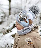 Detské čiapky - Hrejivý set s mackom - 10187689_