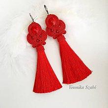 Náušnice - Ručne šité šujtašové náušnice so Swarovski®️crystals / Soutache earrings - Swarovski (Lora - červená) - 10183380_