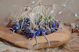 Dekorácie - Myšičky v modrotlači odeté - 10187580_
