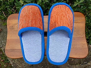 Obuv - Oranžové papuče s modrým lemom - 10186797_