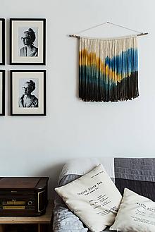 """Dekorácie - Nástenná dekorácia z dreva a vlny """"Azúrové diaľavy"""" - 10185150_"""