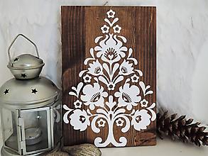 Dekorácie - Vianočný stromček - folk ornament na dreve - 10188055_