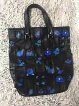 Kožená, ručne maľovaná kabelka -Folk
