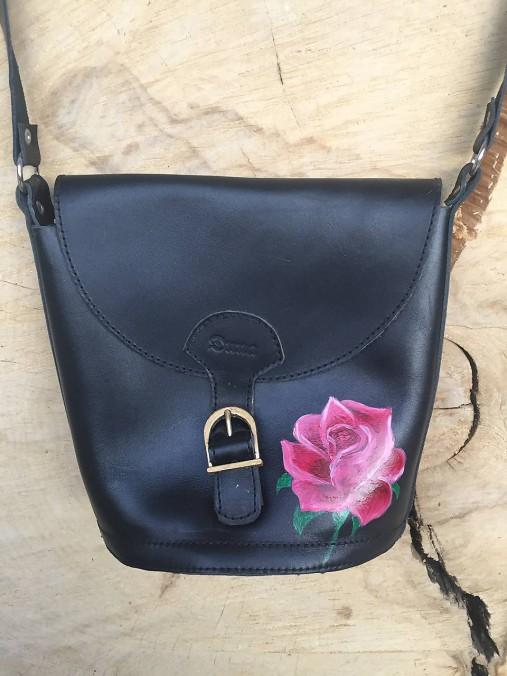 Kožená, ručne maľovaná kabelka -RUŽA