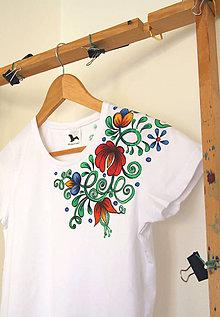 Tričká - Maľované tričko folk farbné kvety... - 10184357_