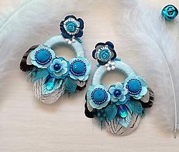 Náušnice - Modré hoop nausnicky - 10187423_
