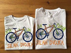 Oblečenie - Otcosynovské maľované tričká s motívom bicykla (Oranžovo - zelený variant (pánske + detské tričko)) - 10187982_