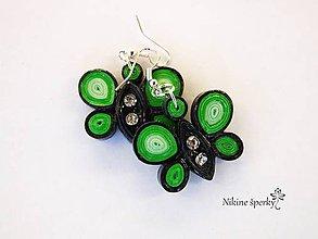 Náušnice - Zelené motýliky - 10183786_