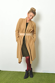 Kabáty - Camel kabátek s vlnou, vel. S-M a M-L - 10184822_