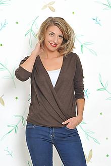 Svetre/Pulóvre - Hnedý svetríkový pulover - 10184905_