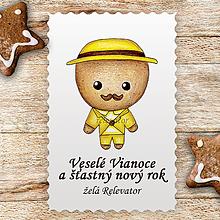 Papiernictvo - Vianočná pohľadnica medovníkový chlapec elegán - 10186108_