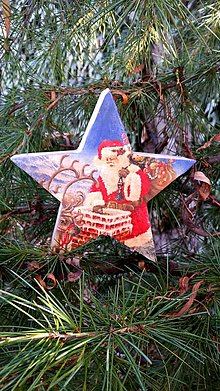 Dekorácie - Drevená hviezda s Mikulášom - 10189283_