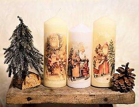 Svietidlá a sviečky - Sviečky s vianočným vintage motívom - 10190470_
