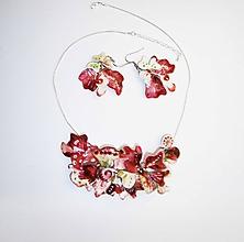 Sady šperkov - atyp flowers bordó náhrdelník a náušnice 22 - 10188905_