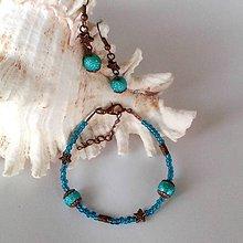 Sady šperkov - Medeno- tyrkysový náramok s náuškami - 10190590_