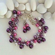 Náramky - Fialovo- ružový náramok s náuškami - 10190753_