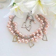Sady šperkov - Srdiečkový náramok s náušnicami - 10190877_