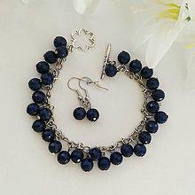 Sady šperkov - Tmavomodrý náramok s náušnicami - 10191038_