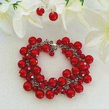 Sady šperkov - Červený perličkový náramok s náušnicami - 10191185_