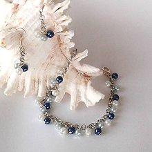 Sady šperkov - Jemný modrý náramok s náušnicami - 10191239_