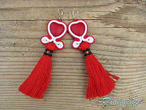 Náušnice - Tassels collection...soutache (Red Heart) - 10189171_