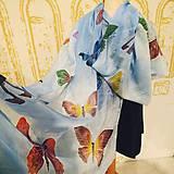 Šály - Hodvábna štóla Motýle na modrom - 10190447_