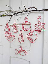 Dekorácie - červené vianoce drôtom maľované... sada - 10190902_