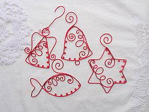 Dekorácie - červené vianoce drôtom maľované... sada (s červenými korálkami) - 10190912_